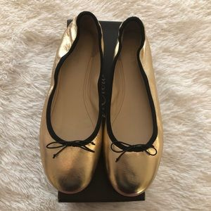 BNIB J. Crew Metallic Gold Leather Ballet Flats
